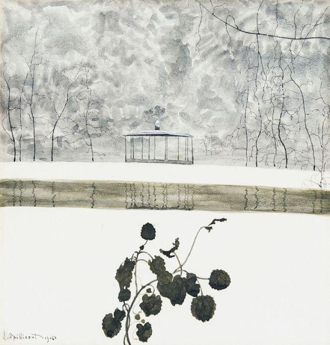 Leon Spilliaert, Snowy Landscape, Ivy and Kiosk. 1915.